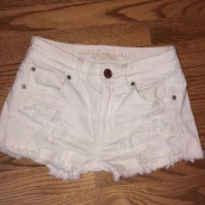 American eagle rarely worn white jean shorts!!